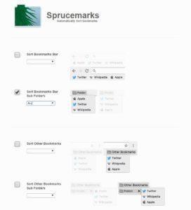 拡張機能「Sprucemarks」 設定画面